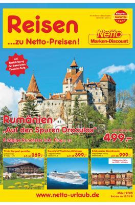 Auschnitt des Titelblatts aus dem Netto Discount Katalog gültig von 23.02.2018 bis 22.03.2018 zum Thema Unser Reisemagazin für Sie!
